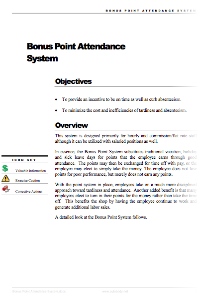 Bonus Point Attendance System – Autobody net